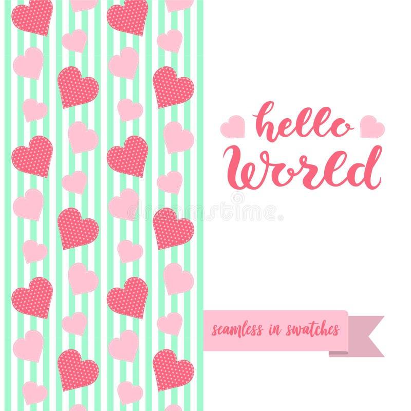 Hand skissad stolpe för bokstäver för Hello världstypografi stock illustrationer