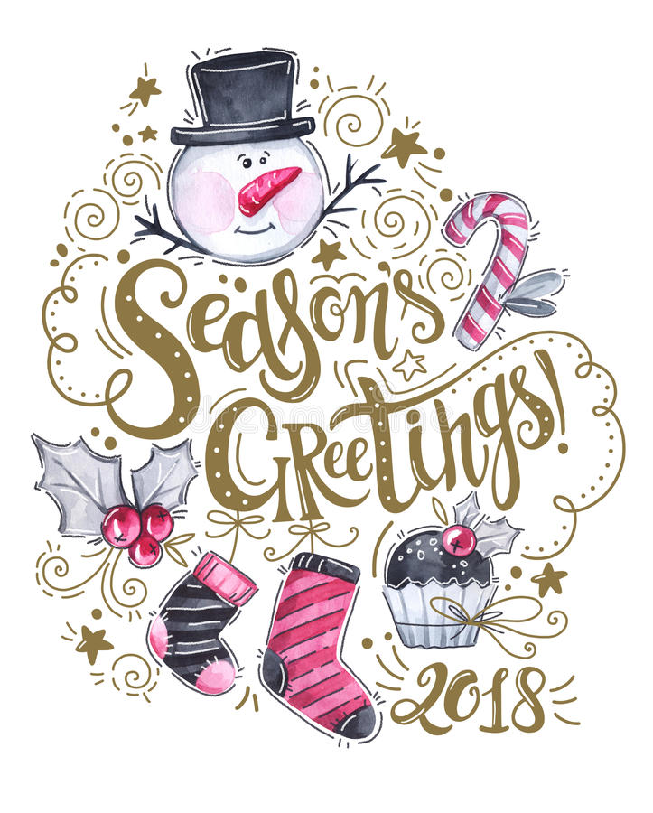 Hand skissade logotyp för hälsningar för säsong` s, vattenfärgsnögubbe, sockor, kaka och feriegarneringar royaltyfri illustrationer