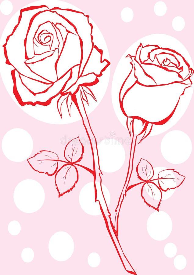 Hand skizzierte Rosafarbenes. stock abbildung
