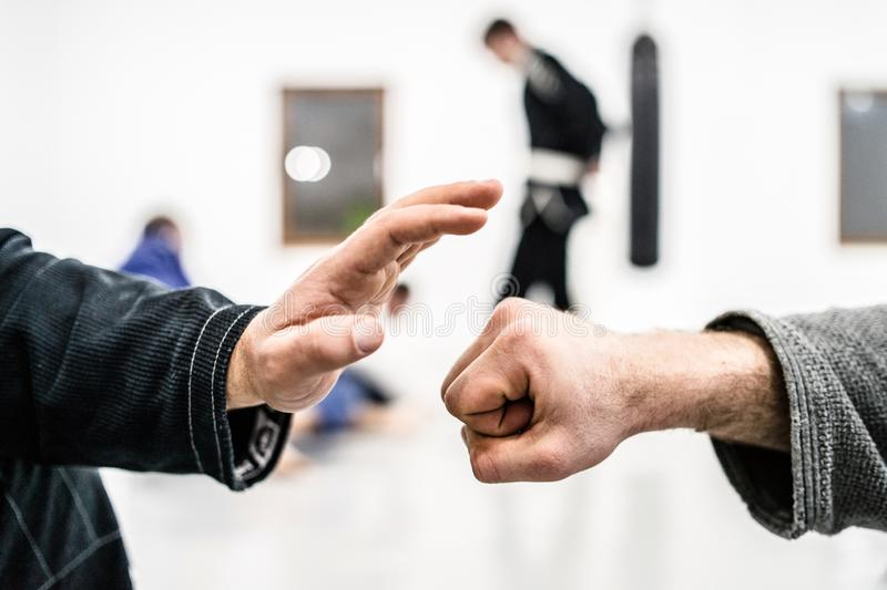 Fist bump at the brazilian Jiu Jitsu training. Hand slap and bump at the start of the brazilian jiu jitsu roll training session stock photos