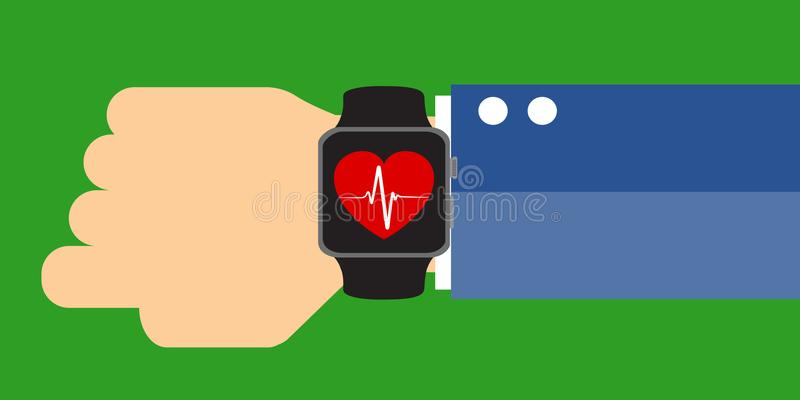 Hand with a smart watch displaying a heart beat sign. Measuring heart rate, Smart phone, Smar twatch application royalty free illustration
