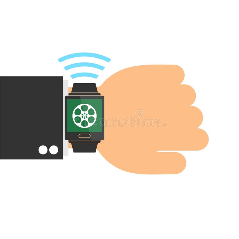 Hand with smart watch, film reel. On white background royalty free illustration