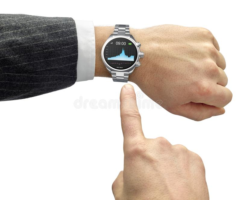 Hand with smart watch and finger touch screen. Isolated on white royalty free stock image