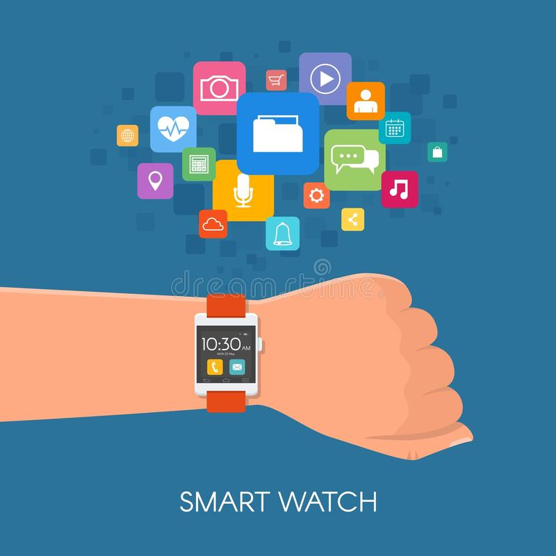 Hand with smart watch. Vector illustration in flat style. Design elements and app icons royalty free illustration