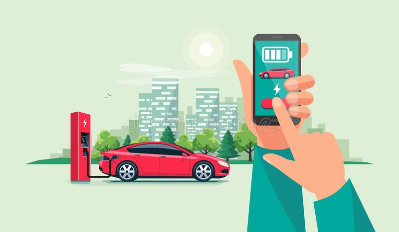 Hand with Smartphone and Charging App with Electric Car Recharging Batteries vector illustration