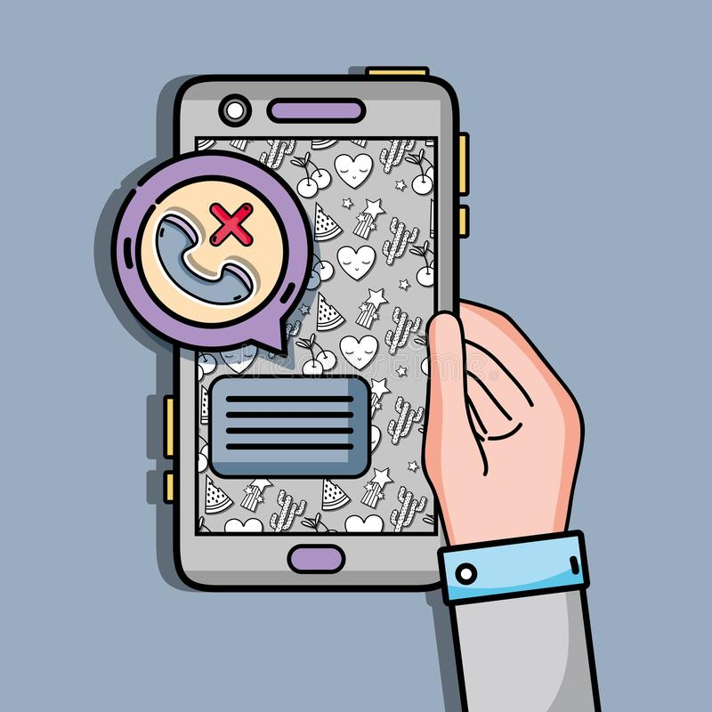 Hand with smartphone with lost call and chat bubble stock illustration