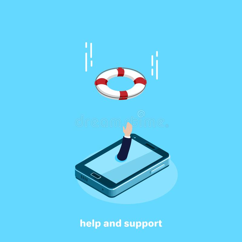 The hand from the smartphone screen stretches upwards calling for help and flying to the aid of a life ring stock illustration