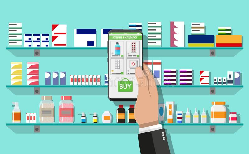 Online pharmacy or drugstore. Hand with smartphone with shopping app. Modern interior pharmacy or drugstore. Medicine pills capsules bottles vitamins and tablets royalty free illustration