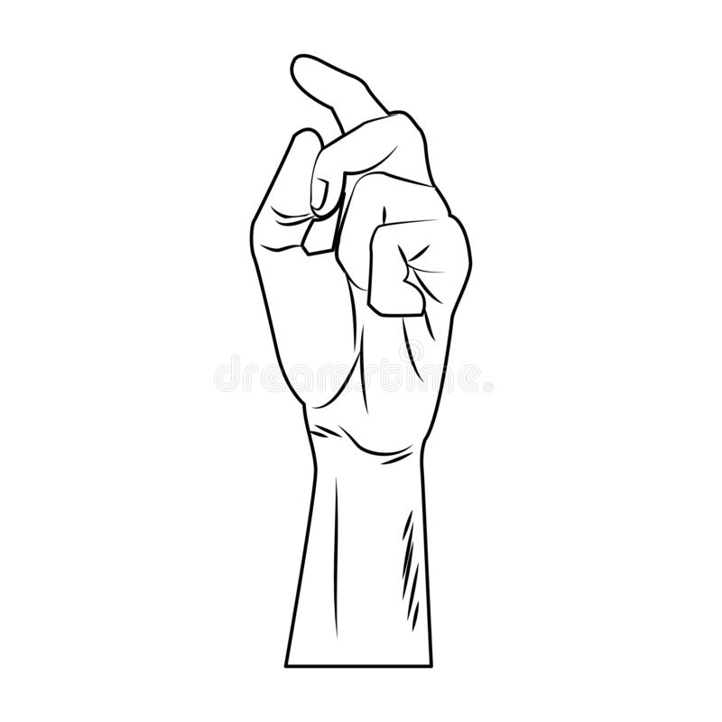 Hand snapping fingers pop art in black and white. Hand snapping fingers pop art vector illustration graphic design stock illustration