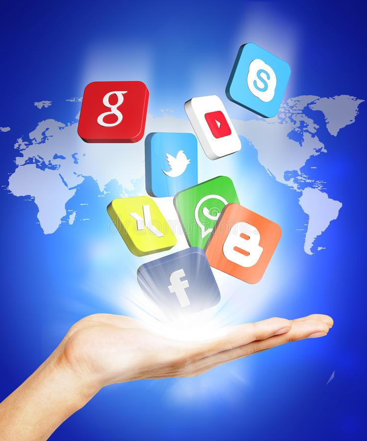 Hand and social media. Illustration with hand and social media icons stock illustration