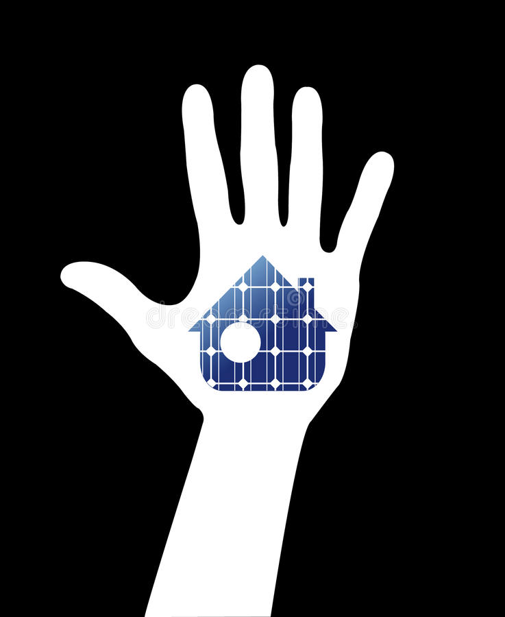 Hand with solar house.