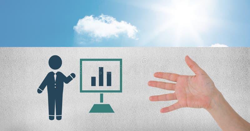 Hand som är öppen med symbolen för skärm för diagram för affärspersonpresentation royaltyfri bild