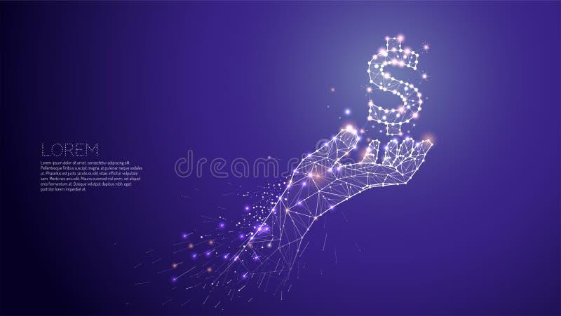 Hand som att bry sig under världen Abstrakt vektorillustrationhand royaltyfri illustrationer