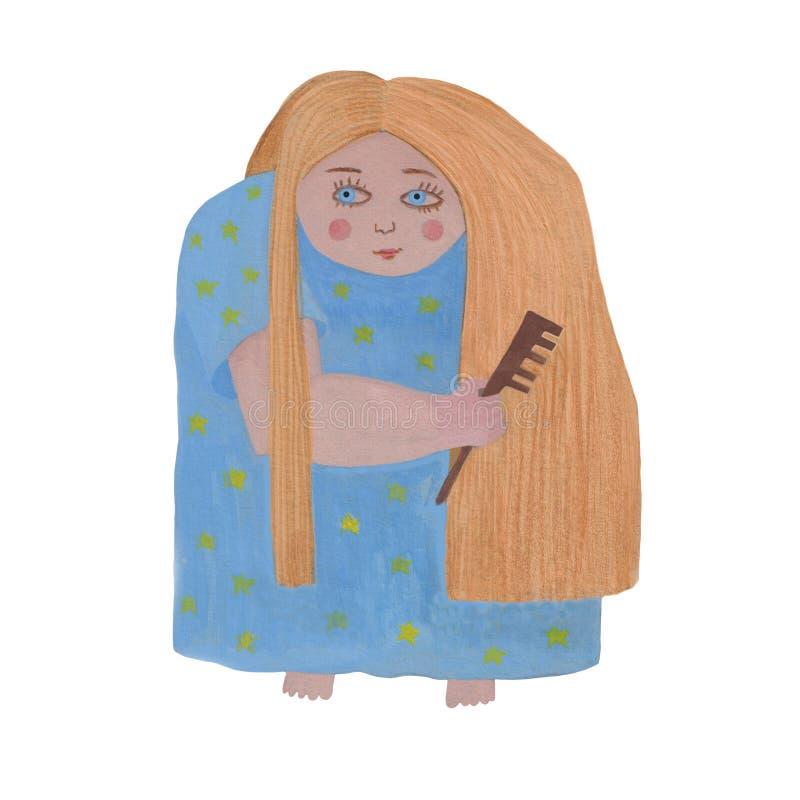 Hand som drar den gulliga flickan som kammar långt blont hår arkivfoto