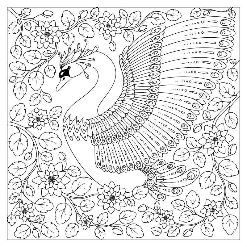 Hand som drar den konstnärliga svanen i blommor för vuxna färgläggningsidor royaltyfri illustrationer