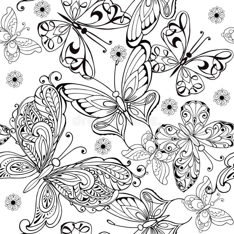Hand som drar den sömlösa modellen av fjärilar Sömlös modell för vektor av fjärilar för anti-spänningsfärgläggningsidan stock illustrationer
