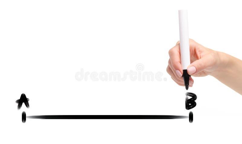 Hand som drar en linje från punkt A för att peka b-svartmarkören royaltyfria foton