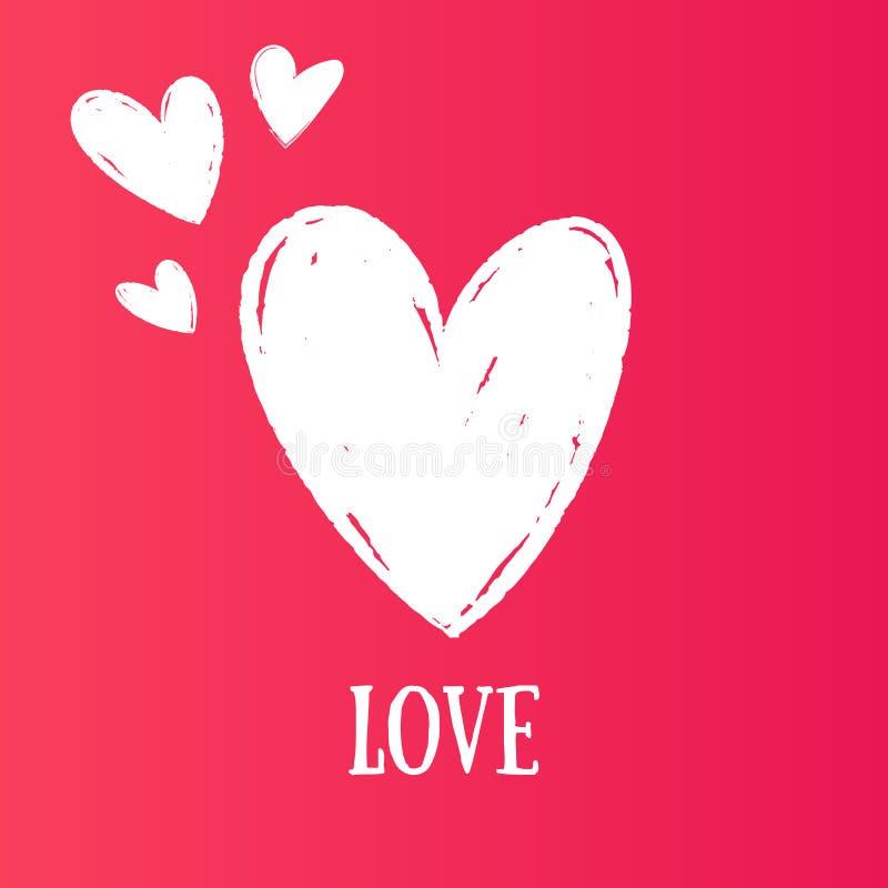 Hand som drar hjärtor med färgblyertspennan För valentin dagbefordringar inbjudningar, kort, baner, garnering Vektor Illustratio stock illustrationer