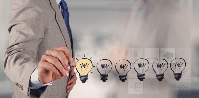 Hand som drar idérik affärsstrategi arkivbild