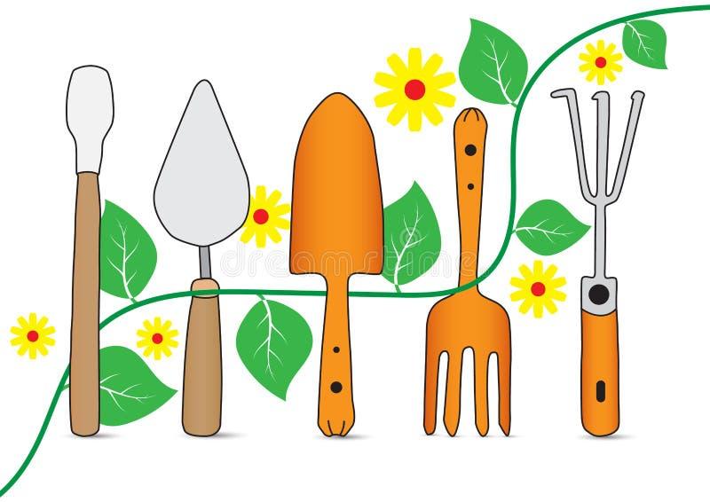 Hand som drar symbolen för trädgårds- hjälpmedel vektor illustrationer