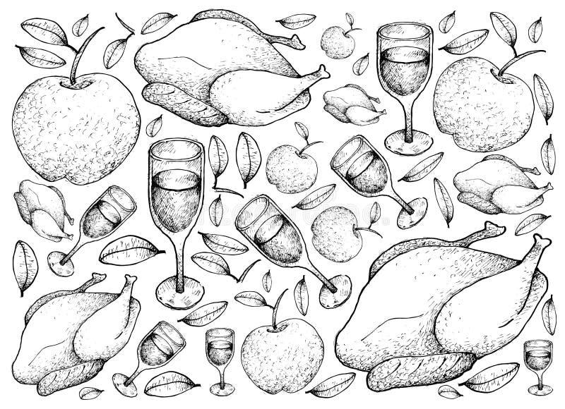 Hand som dras av grillade Turkiet med Apple och vinbakgrund royaltyfri illustrationer