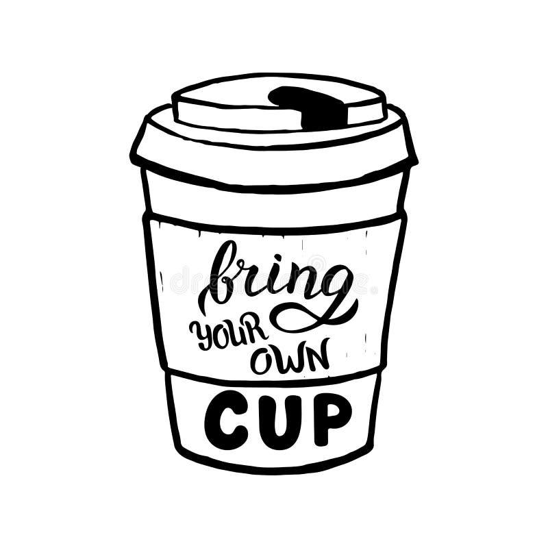 Hand som dras för att komma med din koppaffisch Modern bokstäver för kafébaner Nollf?rlorat begrepp stock illustrationer