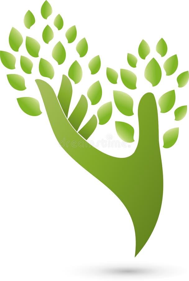 Hand som en träd-, växt-, naturläkare- och wellnesslogo vektor illustrationer