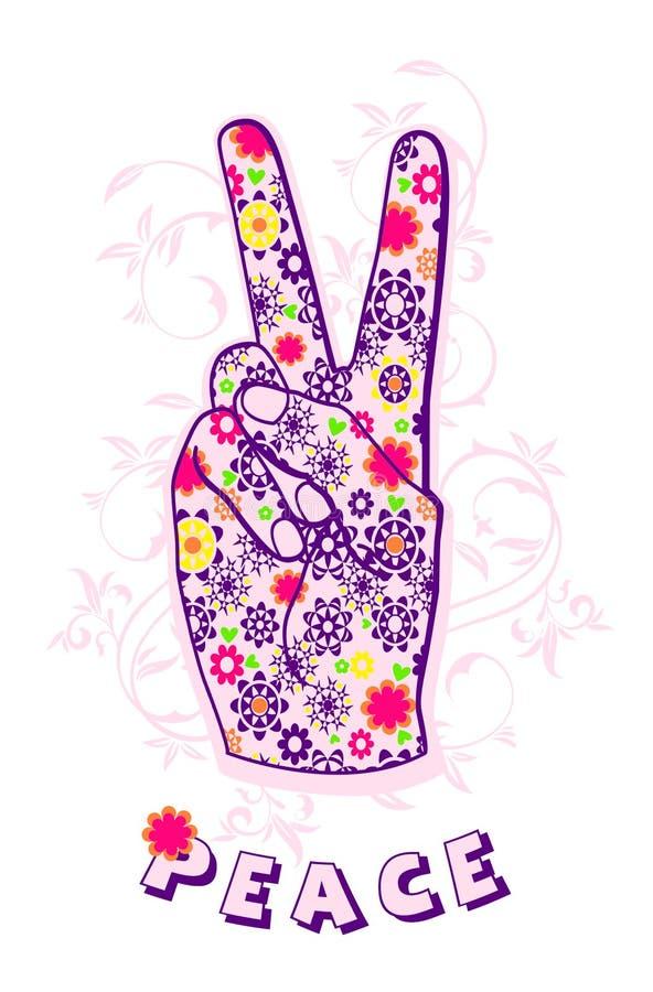 hand som gör fredtecknet, utslagsplatsskjortadiagram stock illustrationer