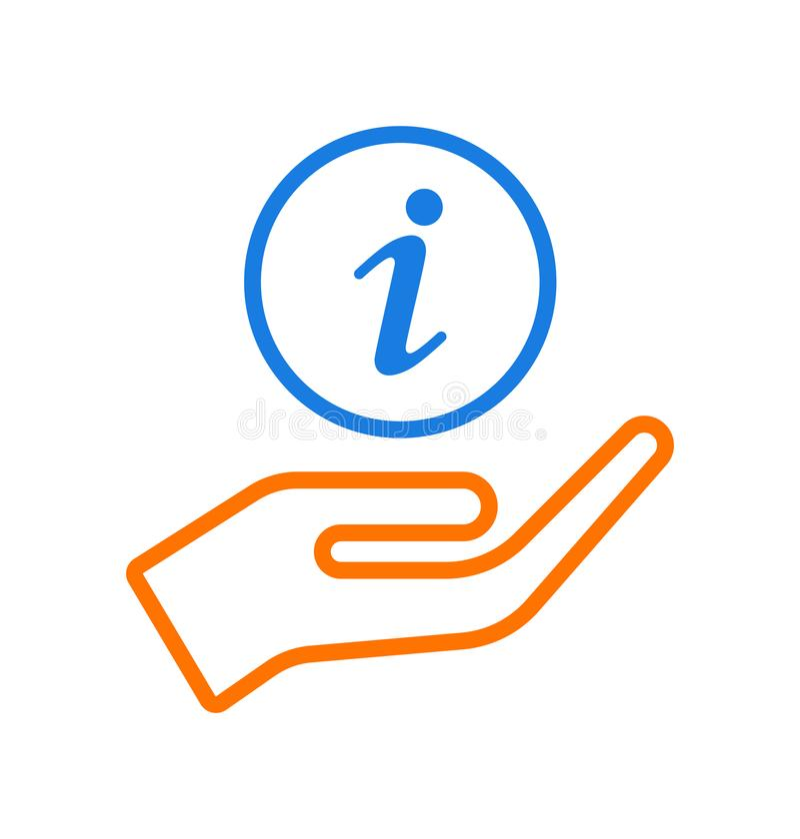 Hand som ger informationssymbolslogo vektor illustrationer