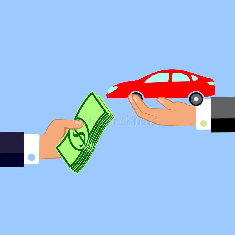 Hand som ger pengar och bilen Utbyte av begrepp Sänka designstil också vektor för coreldrawillustration vektor illustrationer