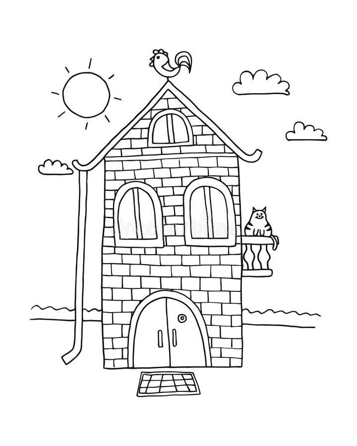 Hand som hem dras Villavektor Husfärgläggningbok vattenfärg för by för tecknad filmhusillustrationer bostads royaltyfri bild