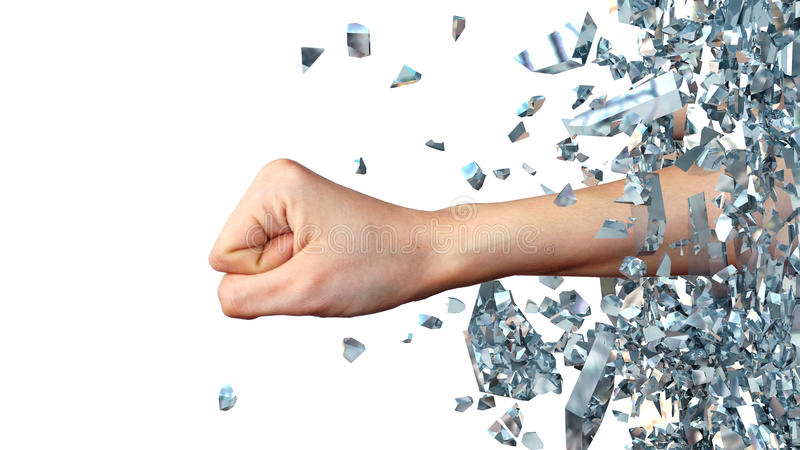 Hand som igenom bryter från glasväggen abstrakt illustration 3d stock illustrationer