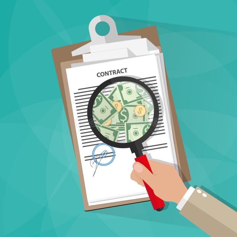 Hand som kontrollerar avtalet royaltyfri illustrationer