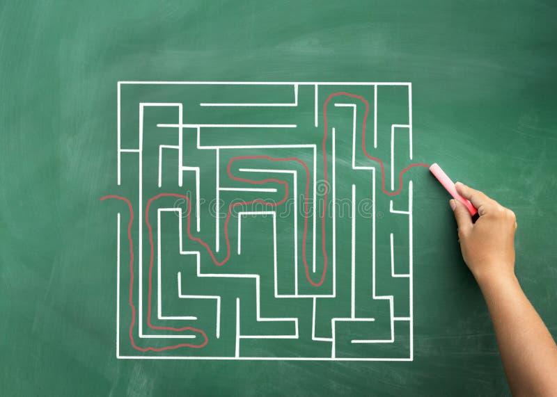Hand som löser labyrint som dras på svart tavla arkivbilder