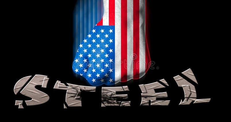 Hand som målas i amerikanska flaggan som gripas hårt om i en näve som slår för ståltariff för ord steel/USA begreppet för tvist royaltyfri illustrationer