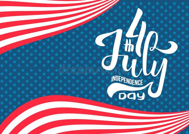 Hand som m?rker den Juli 4th sj?lvst?ndighetsdagen USA sammans?ttning f?r bokst?ver f?r Calligraphic typ f?r hand utdragen av 4th royaltyfri illustrationer