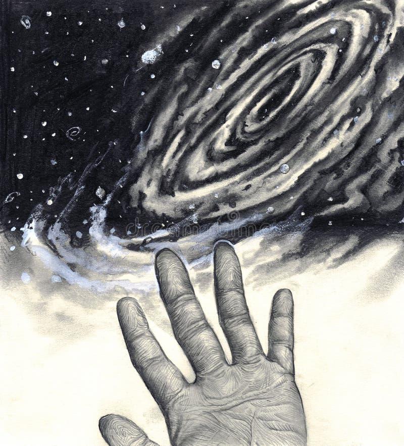 hand som ner stjärnauniversum vektor illustrationer