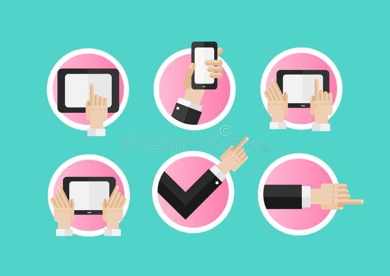 Hand som pekar och använder massmediaapparater royaltyfri illustrationer