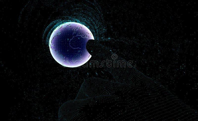 Hand som pekar på planetjordsikt från utrymme fingret trycker på planetjorden i utrymme, effekten av förfall i stället av handlag royaltyfri illustrationer
