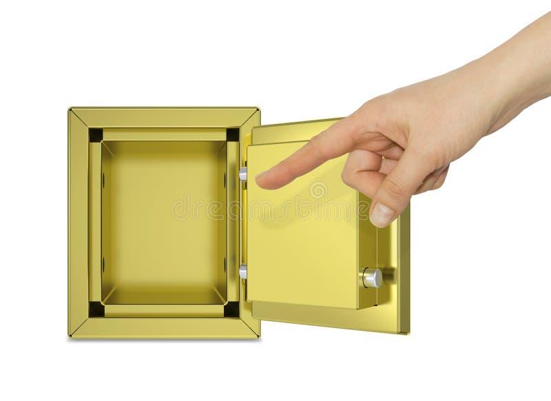 Hand som pekar till det öppna guld- kassaskåpet royaltyfri fotografi