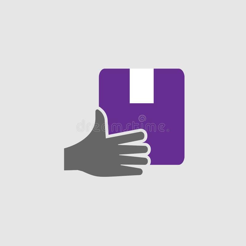 Hand som räckas symbolen Beståndsdel av leverans- och logistiksymbolen för mobila begrepps- och rengöringsdukapps Den specificera vektor illustrationer