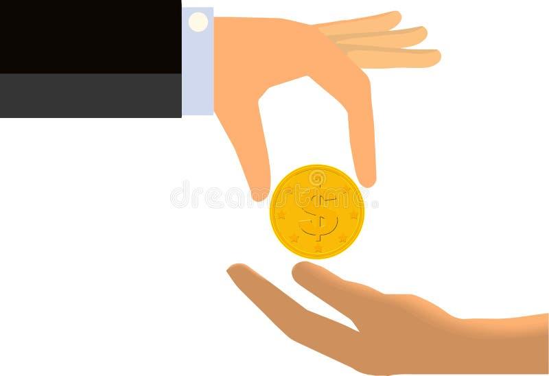 Hand som räcker myntet till den slappa handen av en annan (isolerad) person, stock illustrationer