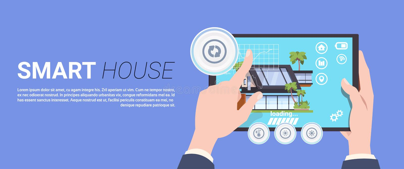Hand som rymmer den Digital minnestavlan med begrepp för manöverenhet för system för för Smart hemkontroll och administration stock illustrationer