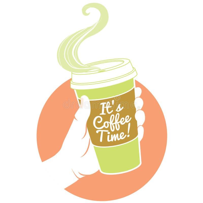 Hand som rymmer den dispossable kaffekoppen Pappräkning med text stock illustrationer
