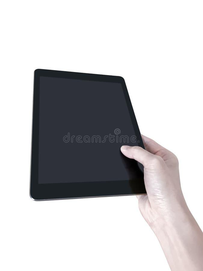 Hand som rymmer den generiska minnestavlan royaltyfria bilder