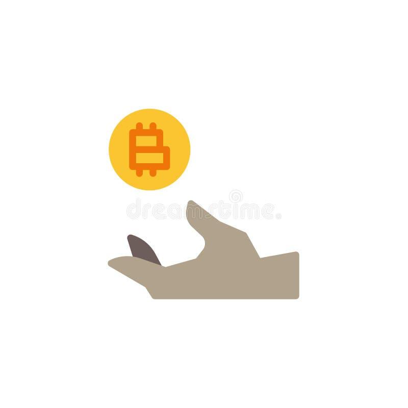 Hand som rymmer den plana symbolen för Cryptocurrency pengar vektor illustrationer