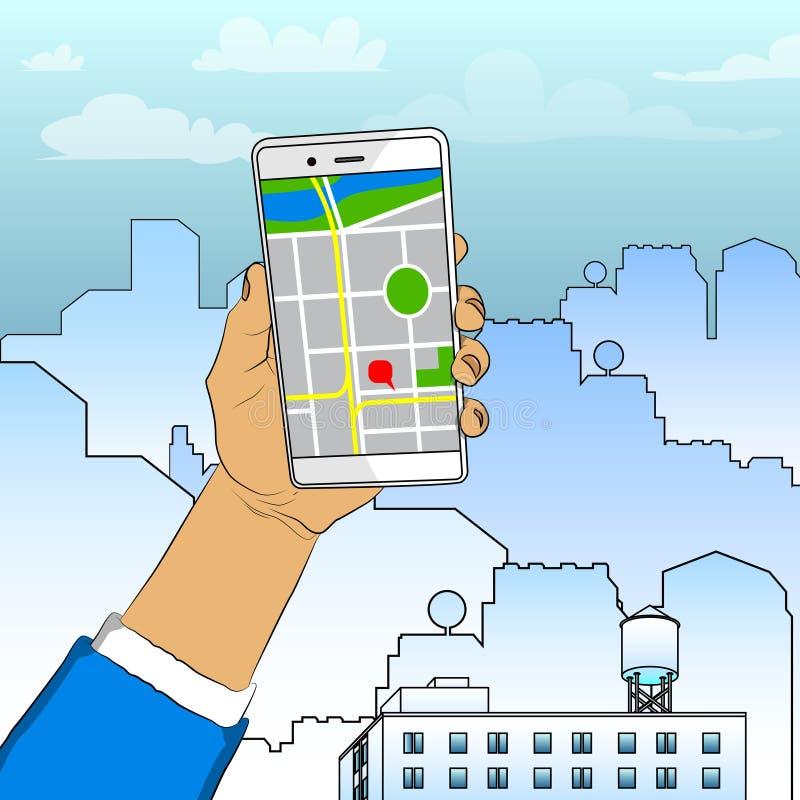 Hand som rymmer den vita mobiltelefonen med översikten royaltyfri illustrationer