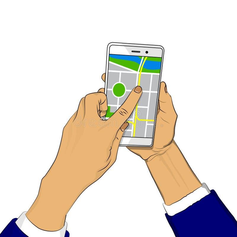 Hand som rymmer den vita mobiltelefonen med översikten stock illustrationer