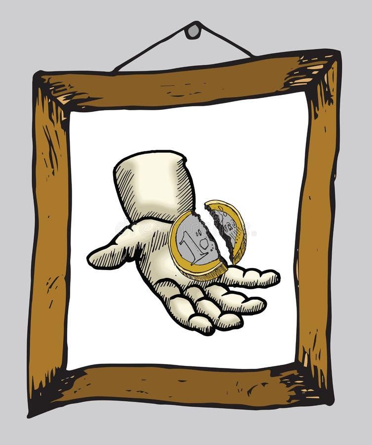 Hand som rymmer det brutna euromyntet i bildram vektor illustrationer