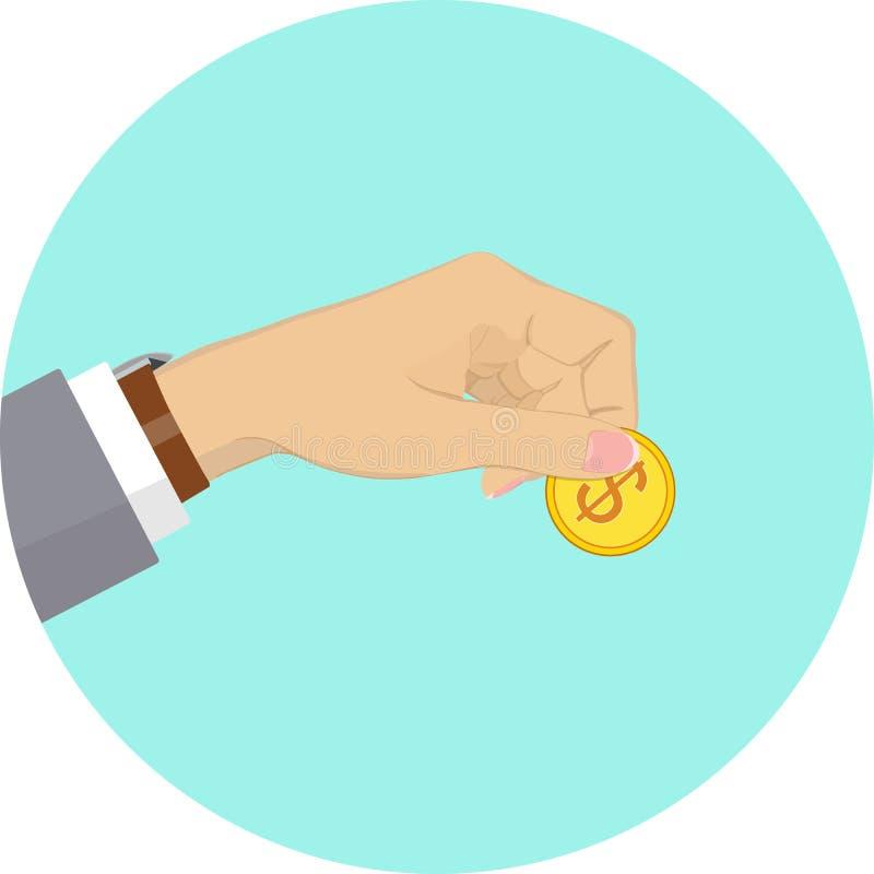 Hand som rymmer det guld- myntet med dollartecknet också vektor för coreldrawillustration vektor illustrationer